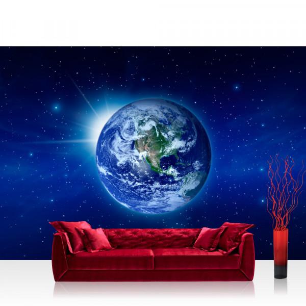 Vlies Fototapete Welt Tapete Erde Weltraum Planet Blau rosa