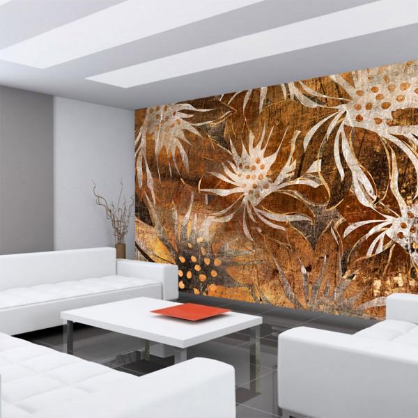 Vlies Fototapete Grunge Floral Ornaments Kunst Tapete abstrakt 3D Wand braun Blumen alt deko braun