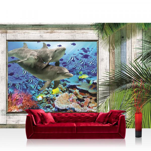 Vlies Fototapete Meer Tapete Holzwand Holz Fenster Palme unter Wasser Meerestiere blau