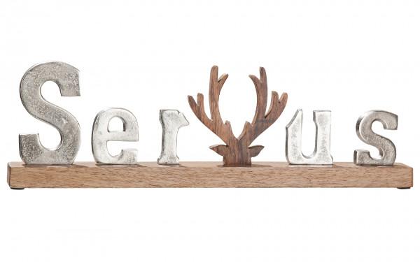 Modern lettering Servus silver on mango wood 46x5x14 cm