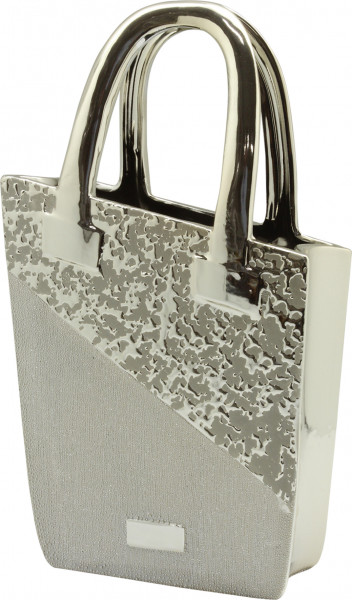 Modern sculpture handbag or decorative vase purse silver height 35 cm