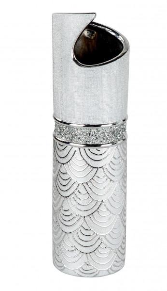 Modern deco vase flower vase Table vase ceramic vase silver glossy and matte height 30 cm