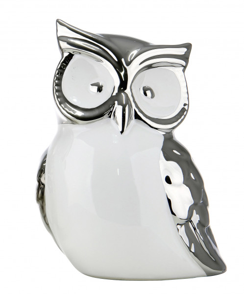 Modern sculpture decoration figurine owl ceramic white and silver height 19 cm width 13 cm