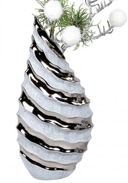 Moderne Dekovase Blumenvase Tischvase Vase aus Keramik Stone Silber 17x36 cm