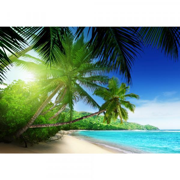 Vlies Fototapete Paradise Beach Strand Tapete Strand Meer Palmen Beach 3D Ozean Palme blau