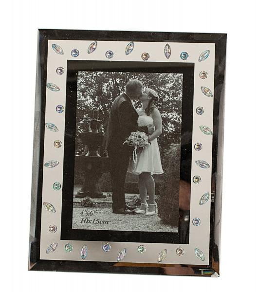 Moderner Bilderrahmen Fotorahmen aus Glas silber 23x18 cm für Bilder 10x15 cm