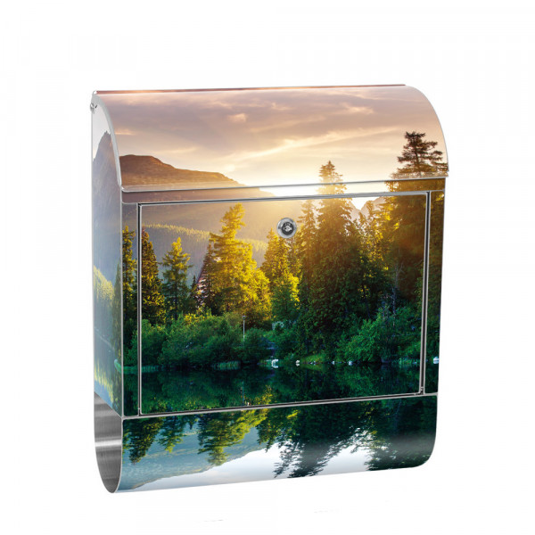 Stainless Steel Letterbox with Newspaper roll & Motif Sunset trees | No. 0051