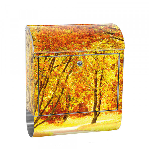 Stainless Steel Letterbox with Newspaper roll & Motif autumn Leaves Forest | No. 0079