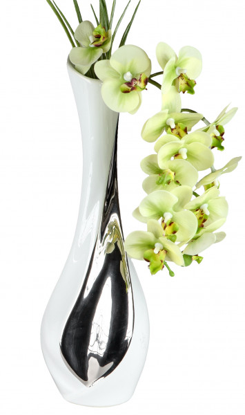 Moderne Dekovase Blumenvase aus Keramik in weiß/silber Höhe 32 cm