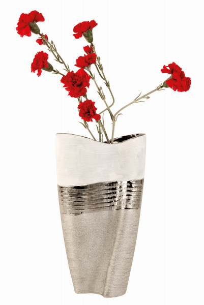 Modern and large decorative vase flower vase ceramic white / silver Height 35 cm