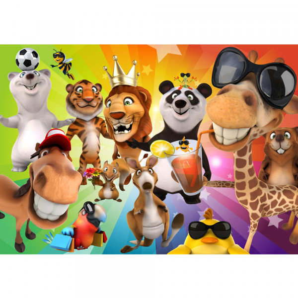 Vlies Fototapete Safari Party Animals Kindertapete Tapete Kinderzimmer Zoo Tiere Safari Comic