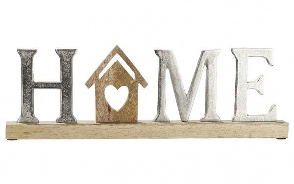 Modern lettering display home silver on mango wood 43x5x14 cm