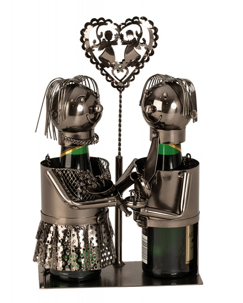 Exclusive Piccolo bottle holders wedding couple metal Height 23 cm (2 bottles)