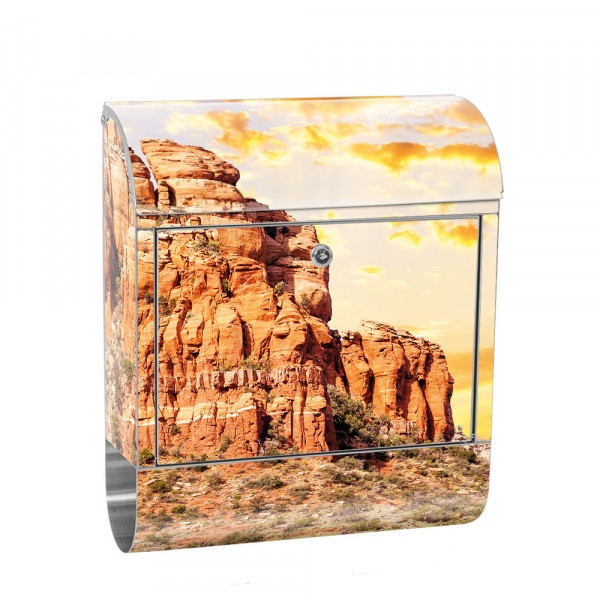 Stainless Steel Letterbox with Newspaper roll & Motif Mountain Sunrise | No. 0235