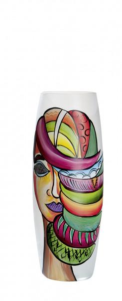 Moderne Dekovase Blumenvase Tischvase Vase aus Glas satiniert mehrfarbig 15x39 cm