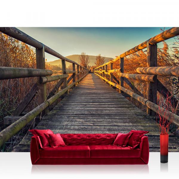 Vlies Fototapete Landschaft Tapete Holzweg Sonnenaufgang Romantisch Aussicht braun