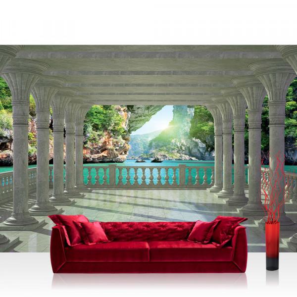 Vlies Fototapete Meer Tapete Architektur Paradies Meer Bogen Felsen blau