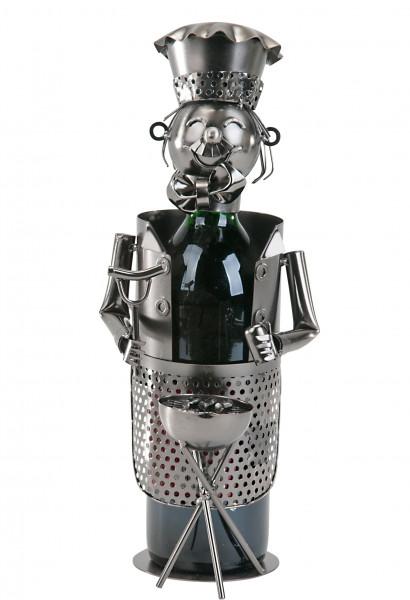 Flaschenhalter Flaschenständer Griller für Weinflaschen aus Metall silber Höhe 36 cm