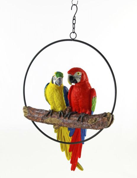 Moderne Dekofigur Garten Skulptur Papagei in Ring zum Hängen aus Poly in rot und gelb Höhe 40 cm Bre