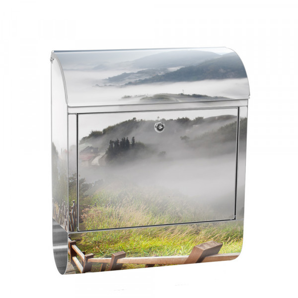 Stainless Steel Letterbox with Newspaper roll & Motif Mountains View Alps | No. 0053