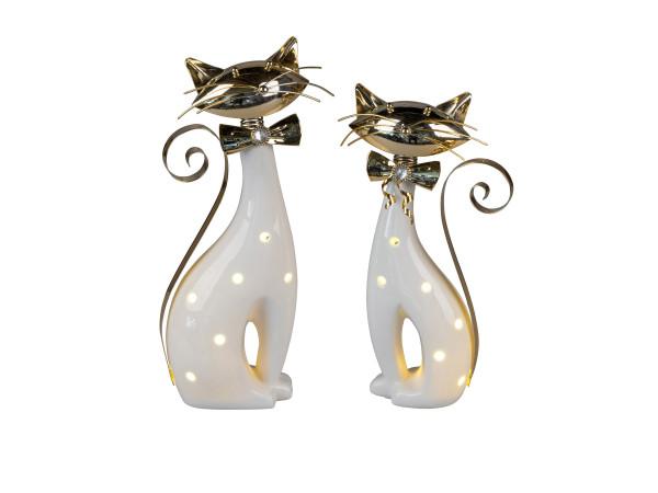 Moderne Skulptur Dekofigur Katze sitzend 2 Stück inklusive LED Beleuchtung aus Keramik/Metall weiß/g