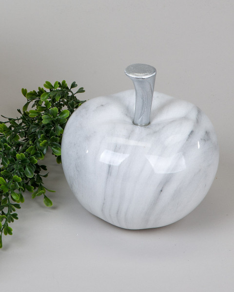 Modern sculpture apple in ceramic marble-gray Diameter 16 cm
