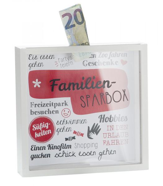 Spardose Familien-Sparbox m. Sichtfenster rot/weiß Höhe 17 cm, Sparbüchse, Familie, Family, Sparen,