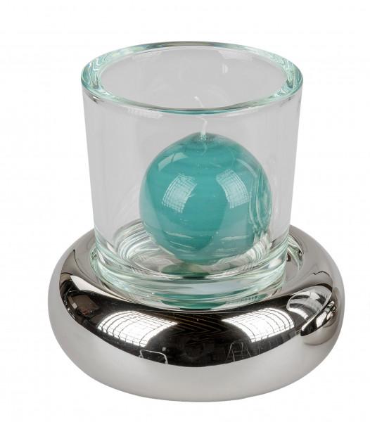 Modernes Windlicht Kerzenständer aus Keramik und Glas in silber Höhe 18 cm