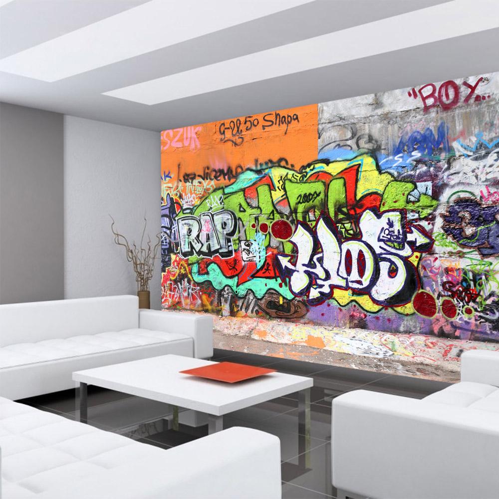 Vlies Fototapete Graffiti Stone WallKindertapete Tapete Kinderzimmer  Graffiti Streetart 3D bunt bunt