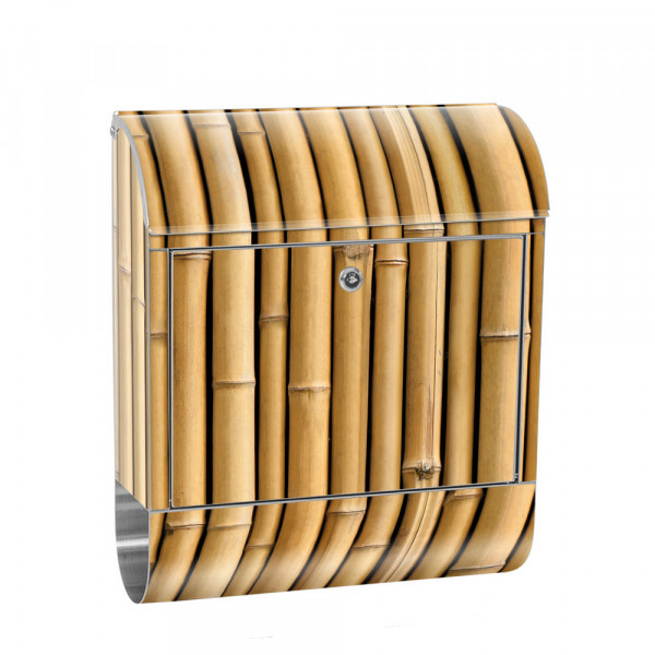 Stainless Steel Letterbox with Newspaper roll & Motif Bamboo Forest Jungle | No. 0083