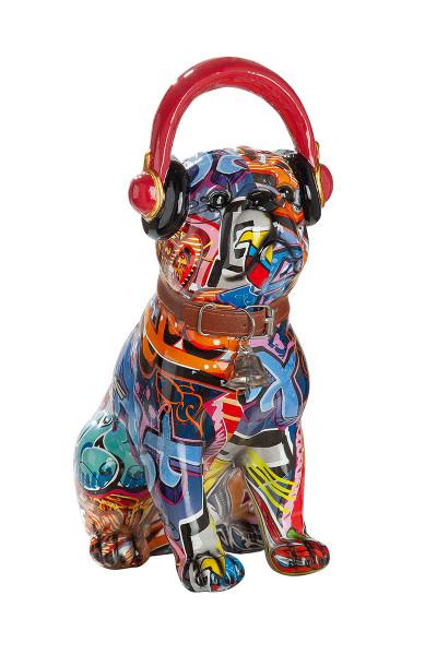 Moderne Skulptur Dekofigur Mops mit Kopfhörern Hund POP ART aus Kunststein Mehrfarbig 13x30 cm