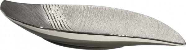 Moderne Dekoschale Obstschale aus Keramik silber/grau Länge 40 cm