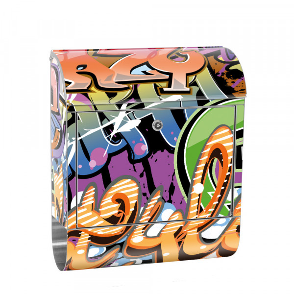 Stainless Steel Letterbox with Newspaper roll & Motif Streetart Graffiti 3D | No. 0221