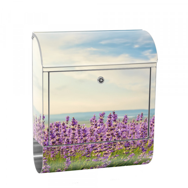 Stainless Steel Letterbox with Newspaper roll & Motif nature Field sky | No. 0205