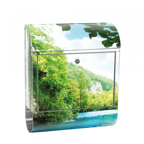 Stainless Steel Letterbox with Newspaper roll & Motif Water paradise Trees | No. 0035