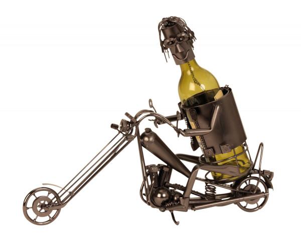 Moderner Wein Flaschenhalter Motorradfahrer aus Metall Höhe 36,5 cm Breite 47 cm