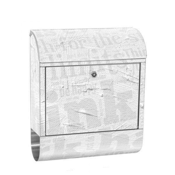 Edelstahlbriefkasten mit Zeitungsrolle & Motiv Ornamente Büro | no. 0124