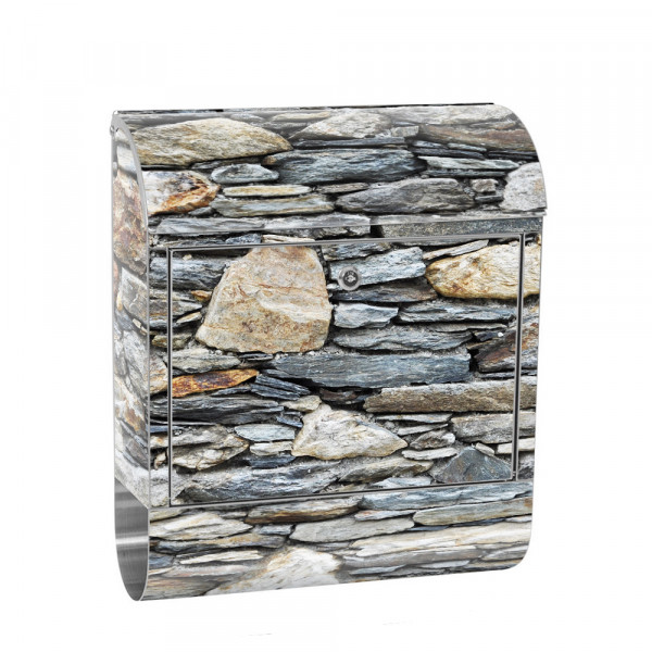 Stainless Steel Letterbox with Newspaper roll & Motif stone Stone Optic Wall | No. 0161