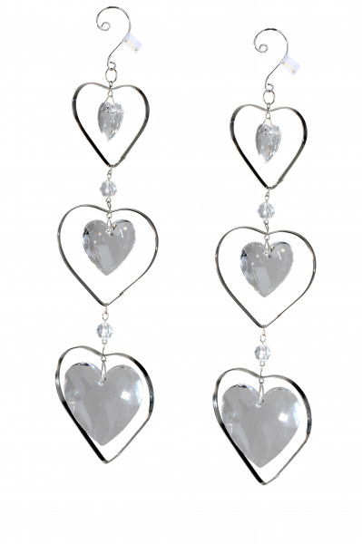 Modern suspension Decoration 3-piece heart of acrylic clear length 26 cm
