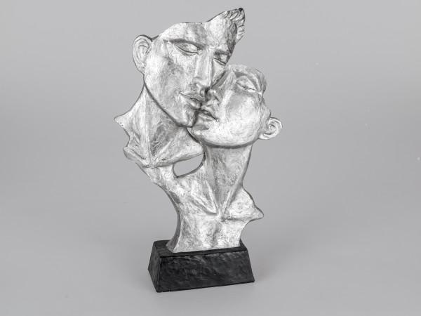 Exklusive Deko Büste Skulptur Paar küssend aus Keramik in schwarz/silber Höhe 40 cm