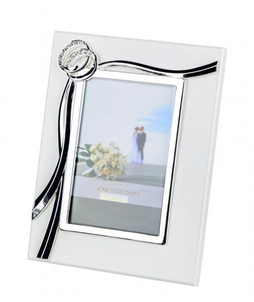 Moderner Bilderrahmen Fotorahmen Hochzeit aus Aluminium weiß mit Ringen 10x15 cm