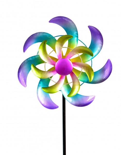Windrad Windspiel Blume als Gartenstecker aus Metall mehrfarbig mit einer Länge von 110 cm Durchmess