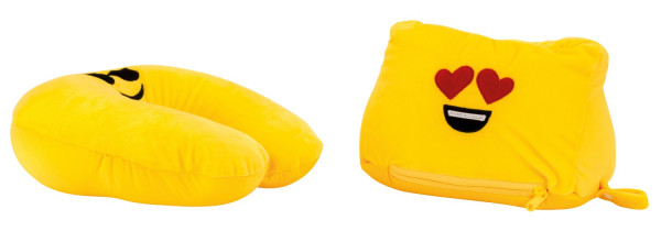 Smily Neck Cushion and Cushion - Convertible - Cushion Height 19cm B 25cm, Neck Cushion H 30 B 32 cm