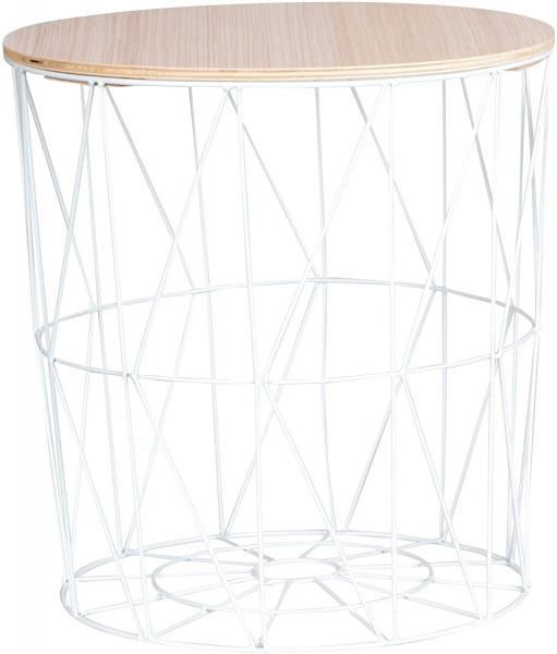 29x30 cm Moderner Beistelltisch Metall Korb mit Holz Deckel weiß//braun