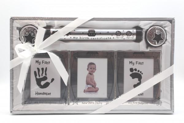 Babyset inklusive Bilderrahmen, 2 Dosen für Milchzähne und Haar, Röhre für die Geburtsturkunde und R