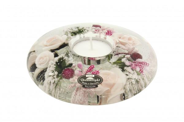 Moderner Teelichthalter Windlichthalter aus Glas mit Rosen und Herzen Durchmesser 13 cm *Exklusive H