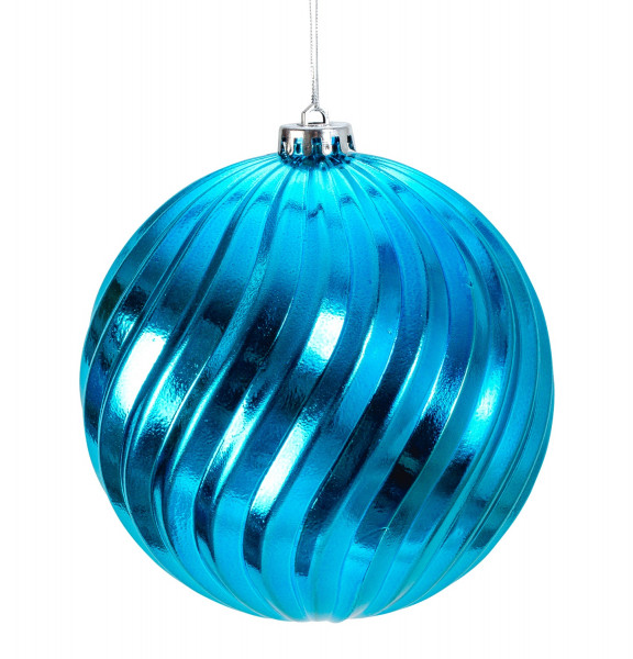 Large Christmas Baubles Baubles SET with 4 pieces of color turquoise blue shiny diameter 15 cm
