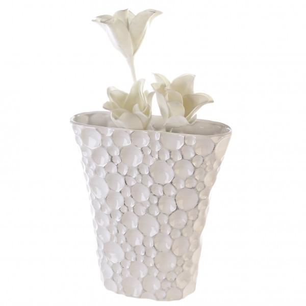 Moderne und exklusive Blumenvase Dekovase aus Keramik in weiß/silber Höhe 31 cm