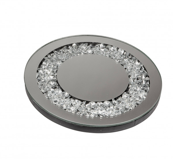 Beautiful coaster trivet wooden and mirror glass silver diameter 20 cm