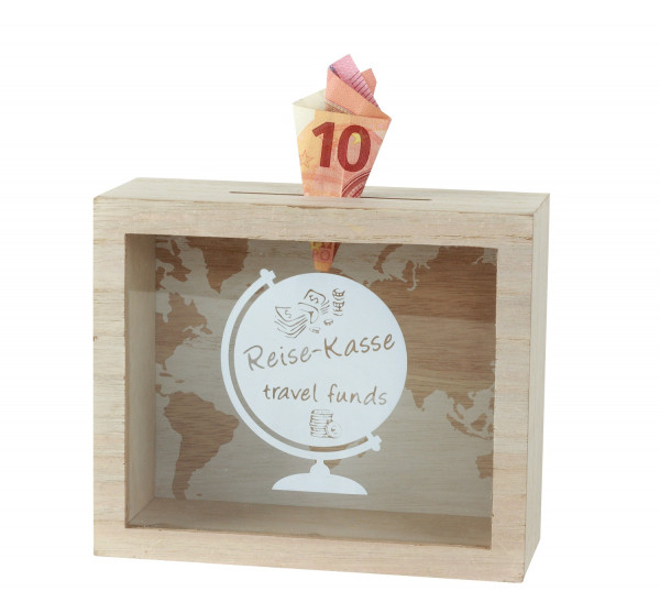 Practical money box Moneybox Travel cash box made of wood/glass 18x15 cm